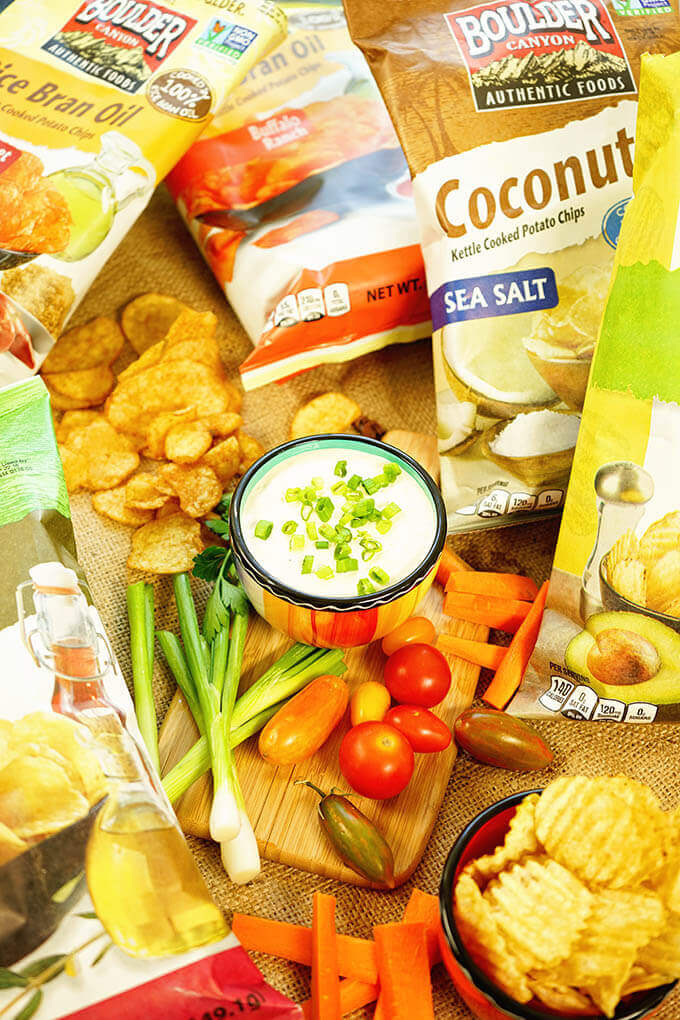 chips and vegetables perfect for dipping!