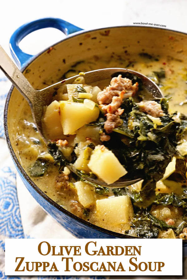 You don't have to go out to your favorite Italian Restaurant to enjoy restaurant style soup at home! Zuppa Toscana Soup is a quick and easy soup - delicious! via @bowlmeover #howtomake... #quickandeasy #zuppatoscana #homemadesoup #soupisgoodfood #bowlmeover