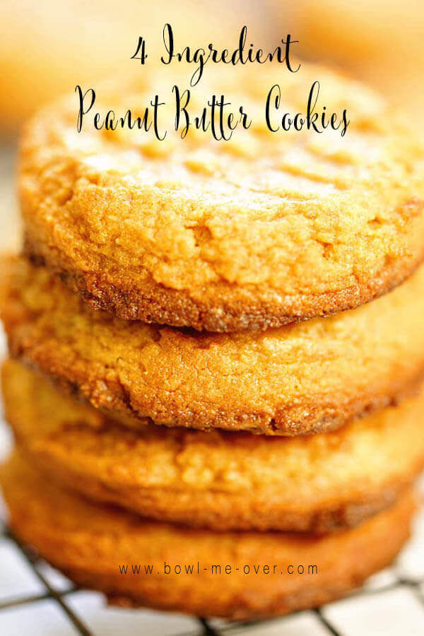 A stack of Peanut Butter Cookies 4 ingredients