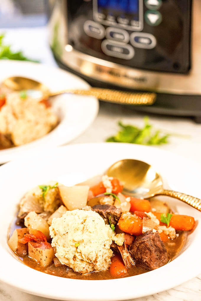 Best Crockpot Beef Stew With Dumplings Bowl Me Over