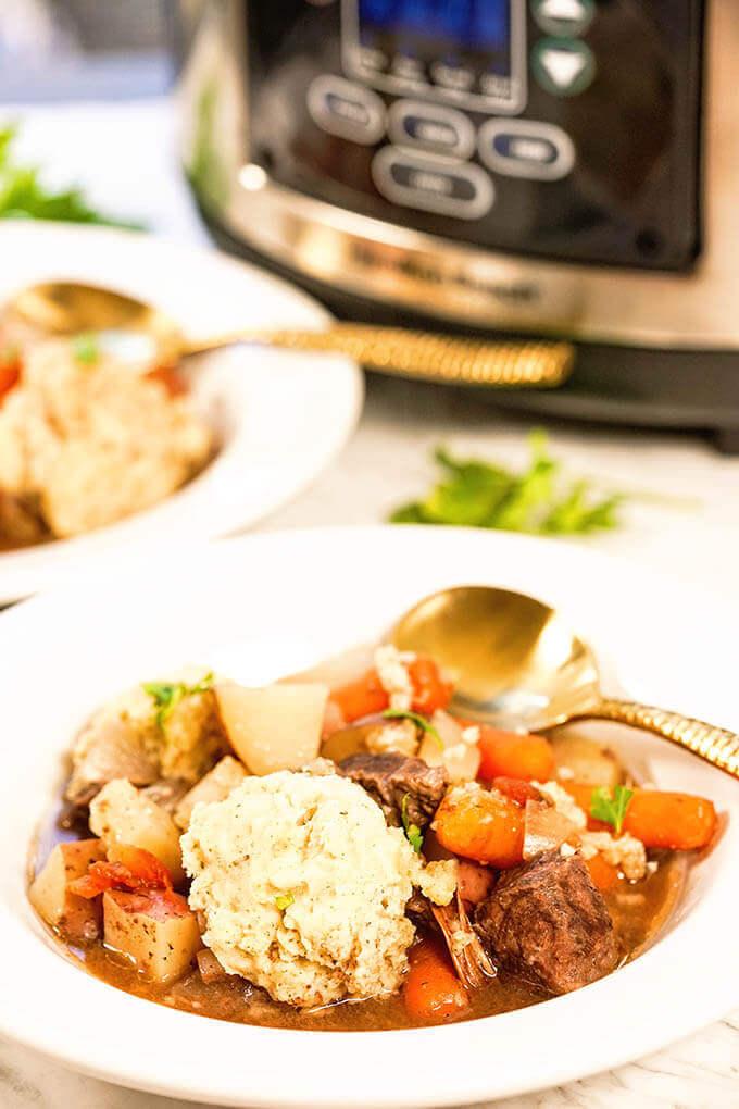 Best Crockpot Beef Stew With Dumplings Bowl Me Over