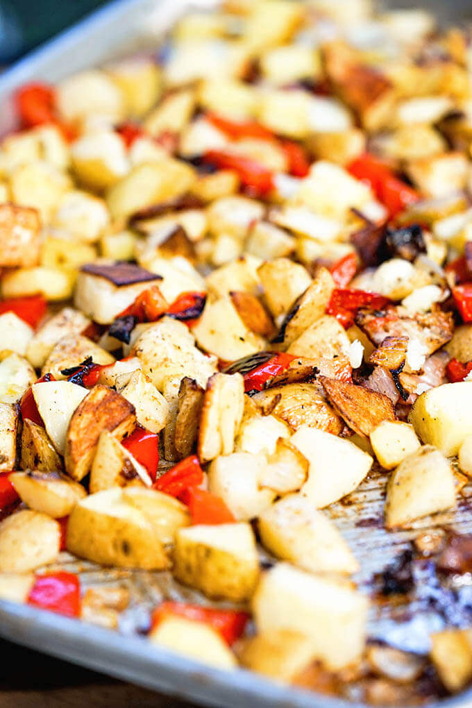 Oven Baked Breakfast Potatoes on sheet pan.