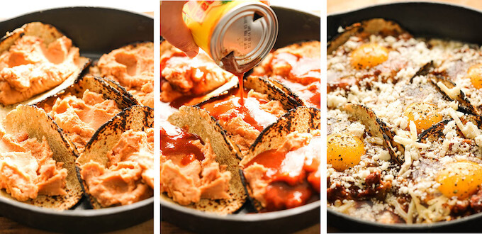 Photos with steps to make easy Huevos Rancheros recipe.