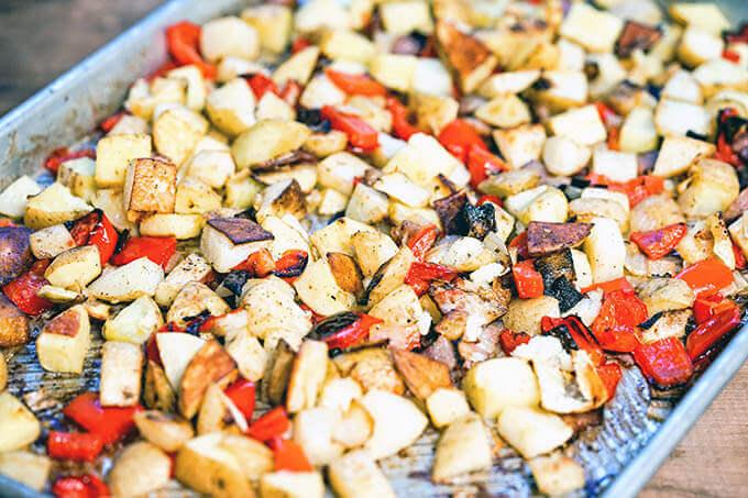 Breakfast potatoes on sheet pan.