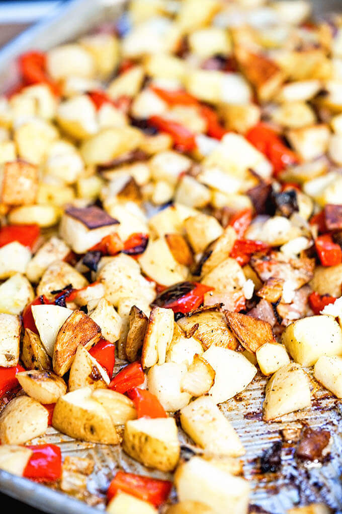 Sheet pan of roasted breakfast potatoes.