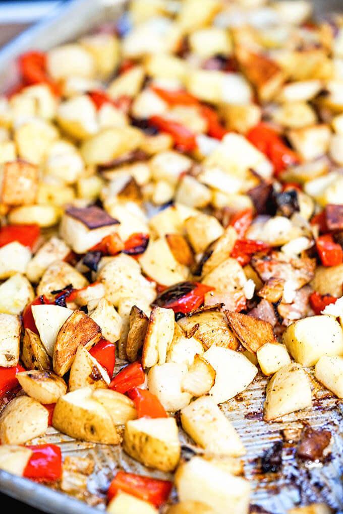Sheet pan of roasted potatoes.