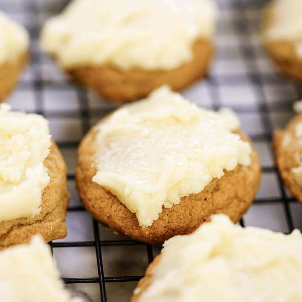 Frosted Butterscotch Cookies on baking rack.