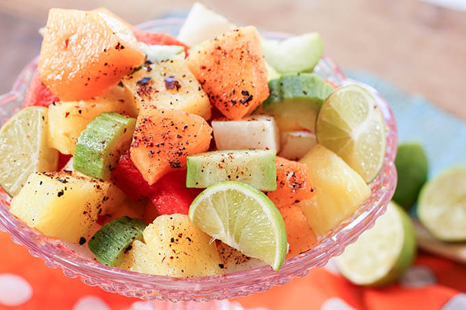 Mexican Fruit Salad in pink glass bowl
