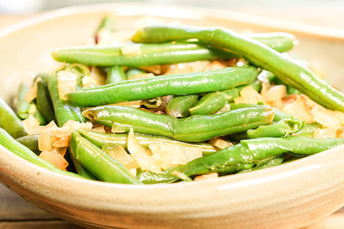 Instant Pot Green Bean Recipe with bacon and onions.