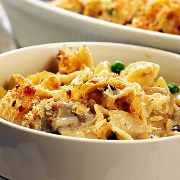 Classic Tuna Noodle Casserole in bowl with a crispy topping.