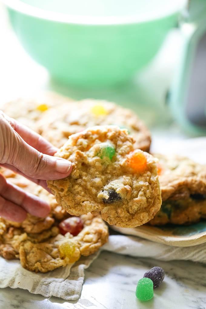 Hand holding oatmeal gumdrop cookies
