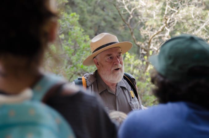 Park Ranger giving lecture at Mesa Verde, CO