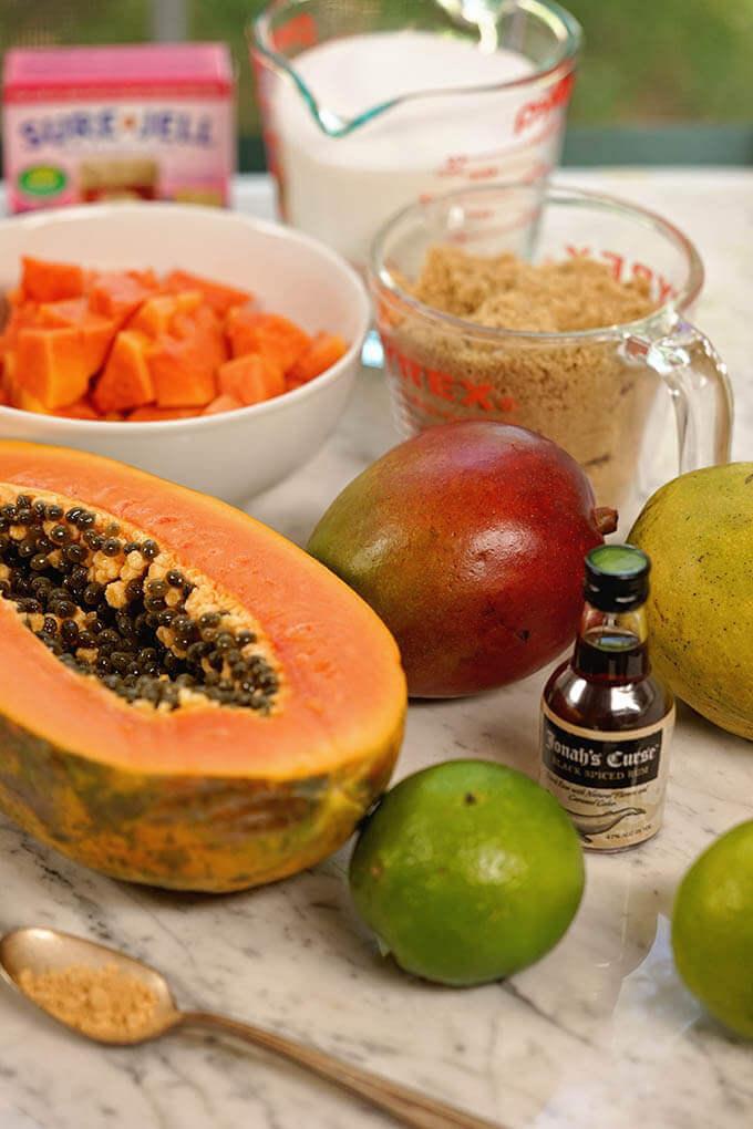 Papaya Jam ingredients - papaya, sugar, mango, rum and pectin