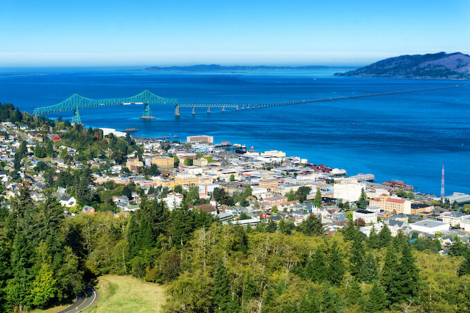 Astoria Oregon Coast View overlooking the mouth of the Columbia River