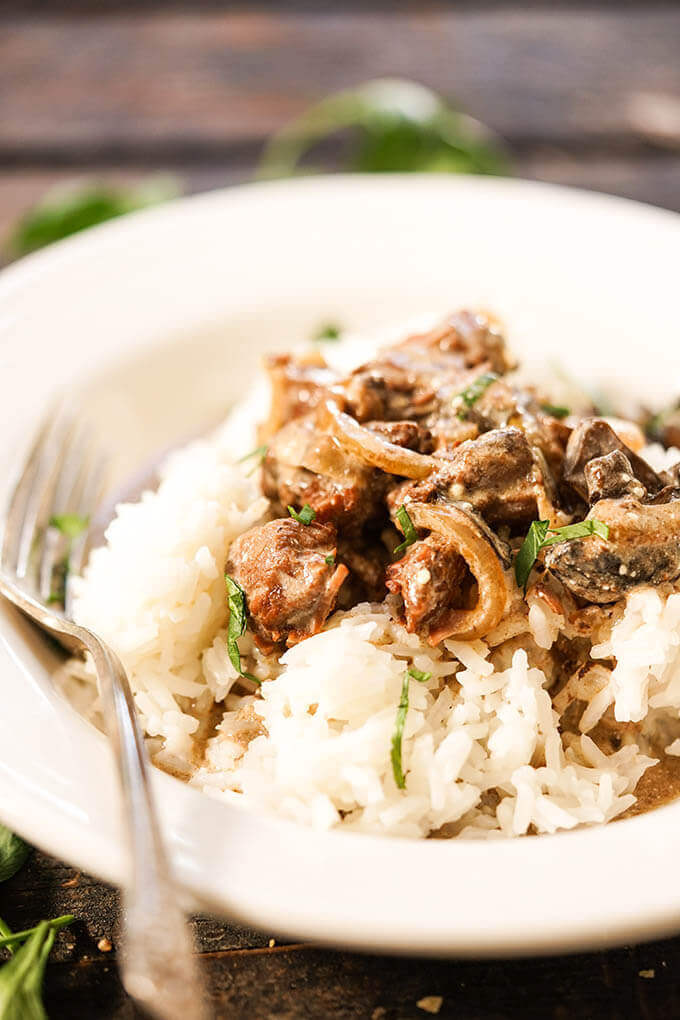 Beef Stroganoff over rice in bowl