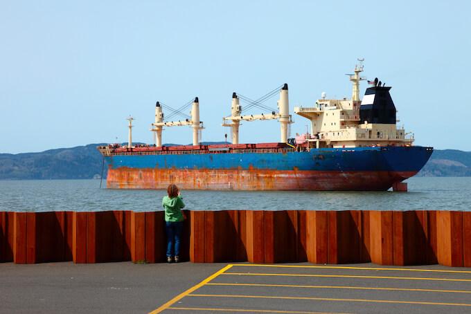 Cargo ship on the Columbia River, Astoria Oregon Coast