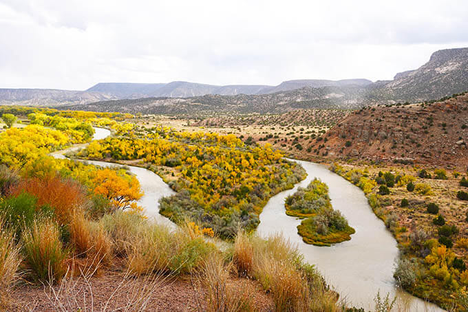 Chama River, New Mexico with beautiful fall color from the deciduous trees
