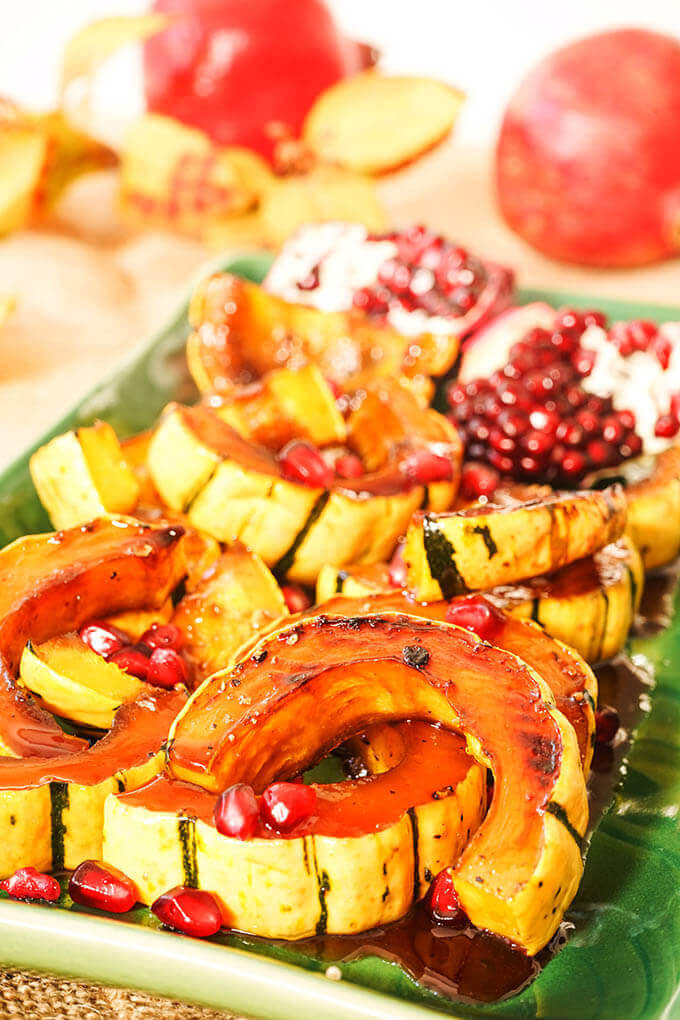 Roasted Delicata Squash Recipe on platter.