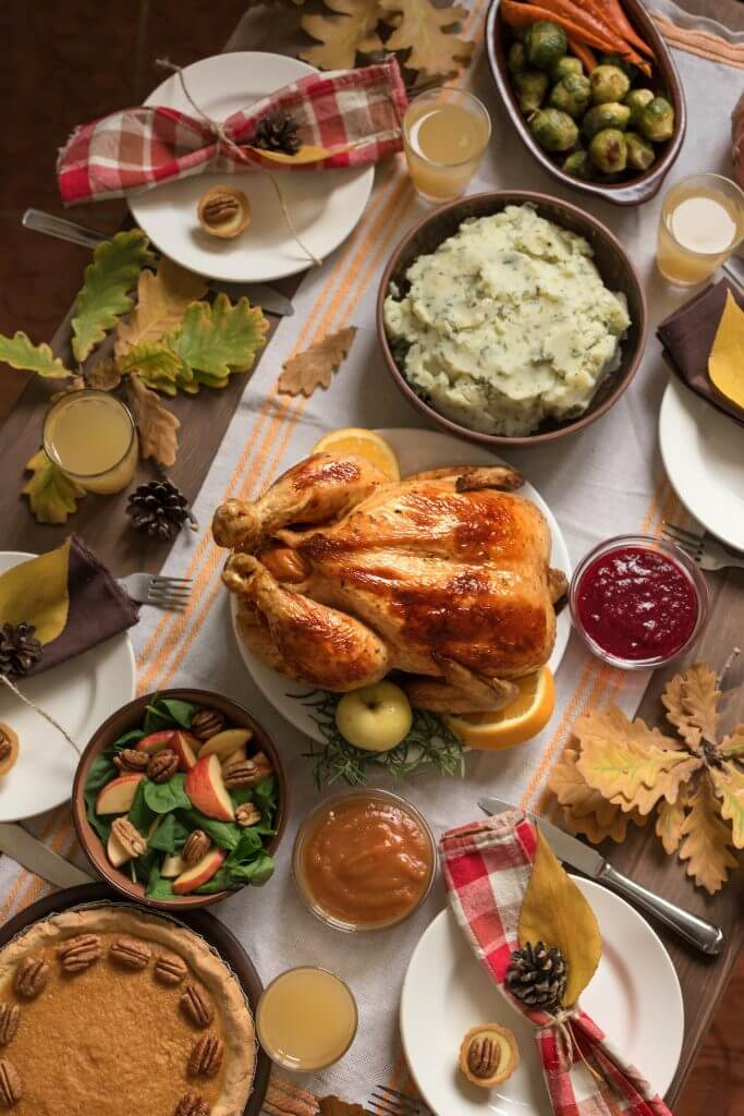 Turkey and Thanksgiving Side Dishes on table