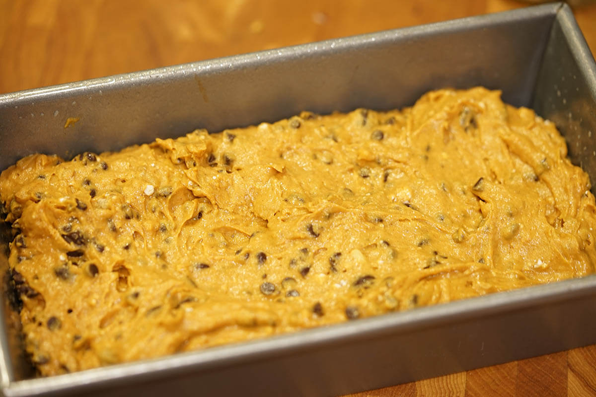 Quick bread recipe in loaf pan.