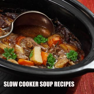 Soup in Slow Cooker with spoon
