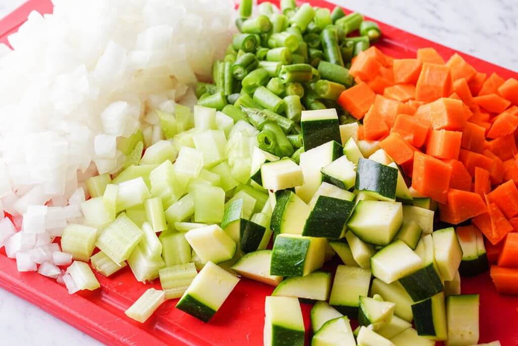 Diced vegetables on cutting board.