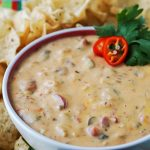 BEST Queso Dip in bowl surrounded by corn chips for dipping.