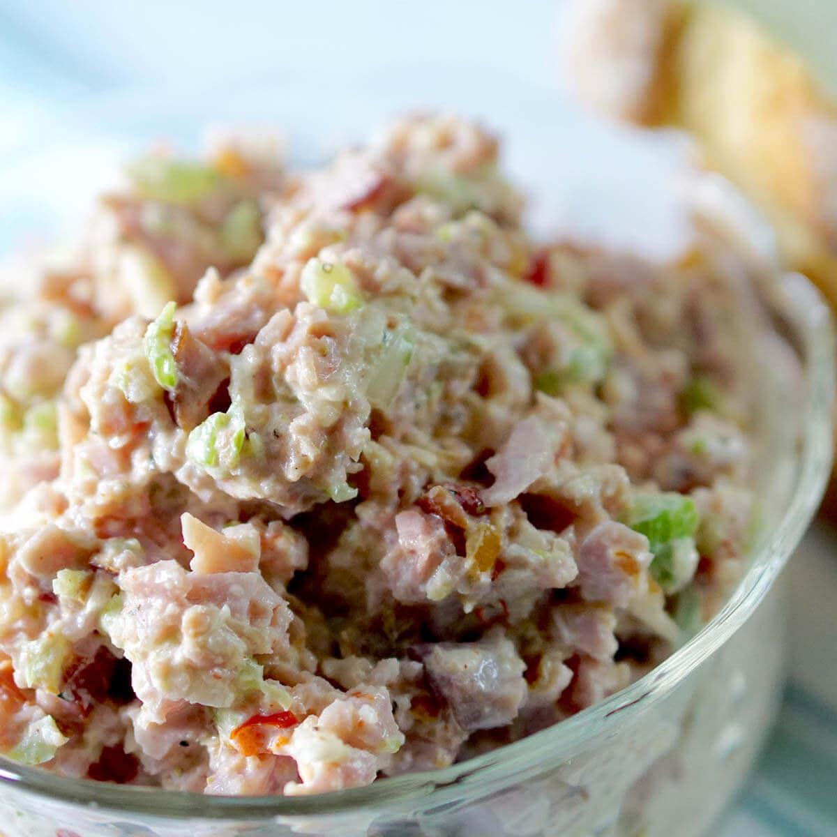 Ham Salad sandwich spread in a bowl.