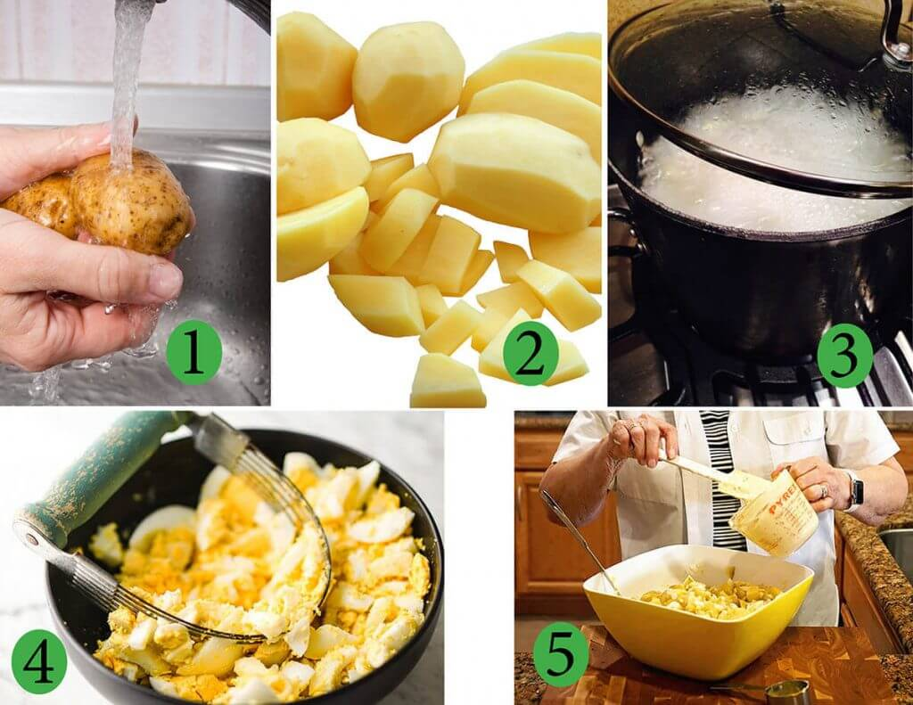 Steps to make deviled egg potato salad.