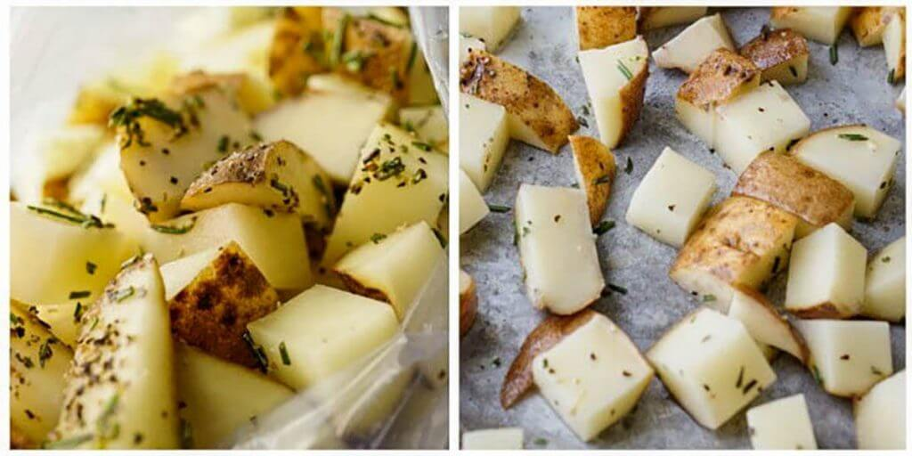 steps to roast diced potatoes