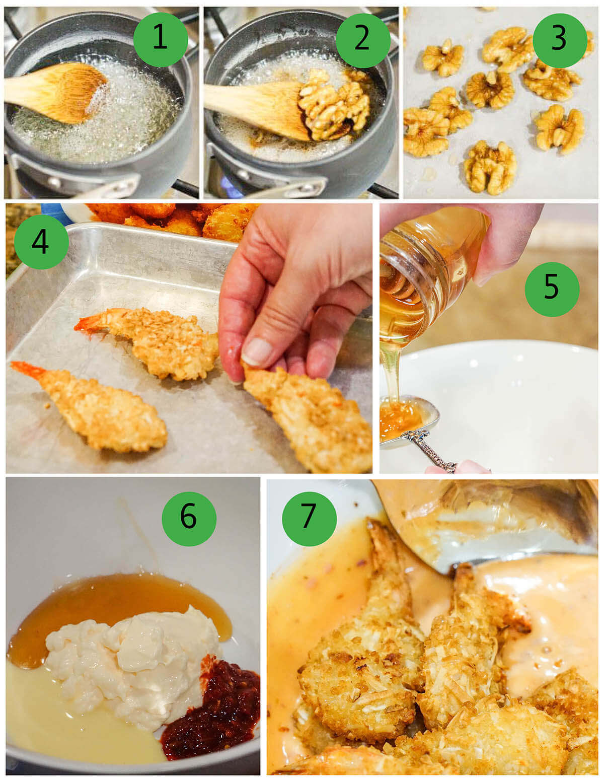 Step by step photo collage showing how to make shrimp recipe.