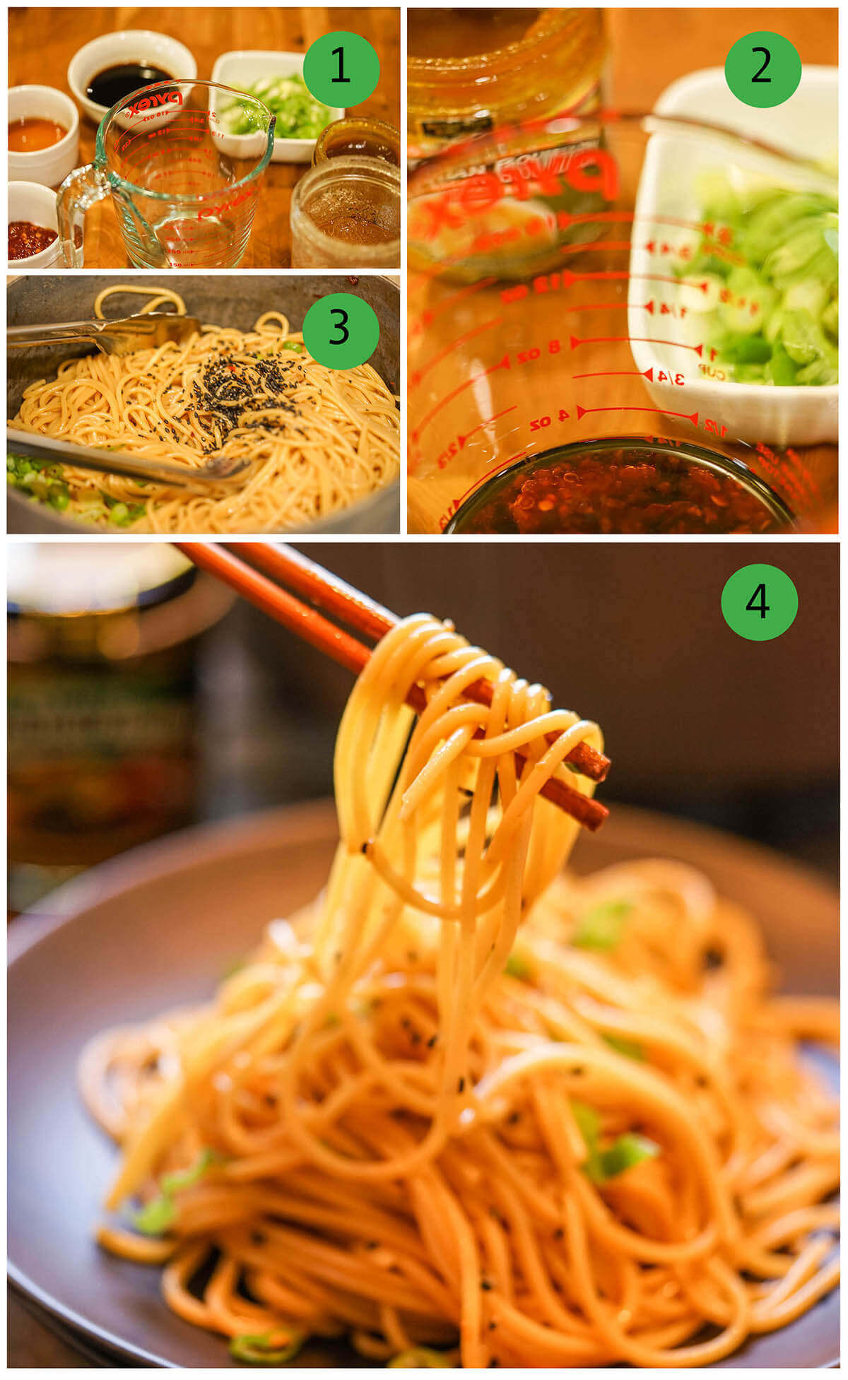 Step by step directions to make spicy sesame noodles