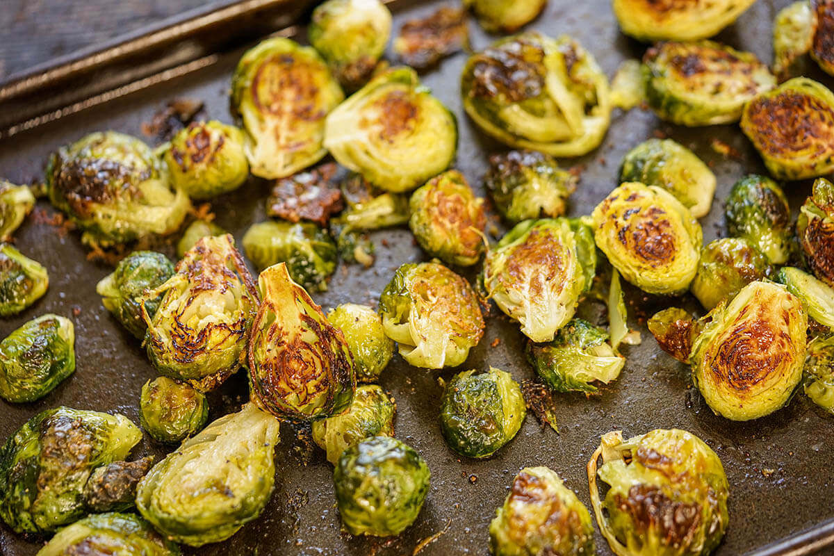 Oven Roasted Brussels sprouts recipe on sheet pan.