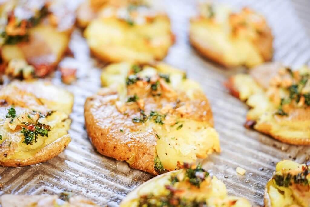 Potato rounds baked until crunchy