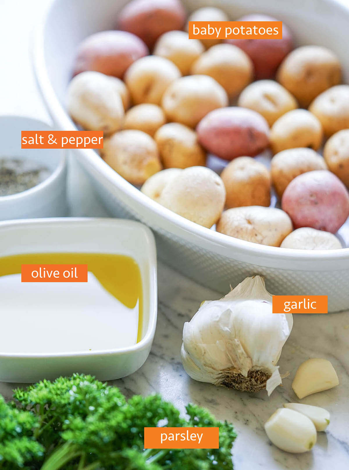 Ingredients to make smashed potato recipe