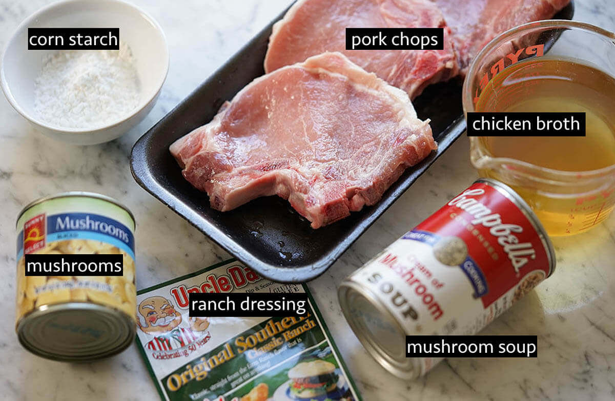 All of the ingredients needed to make crock pot pork chops.