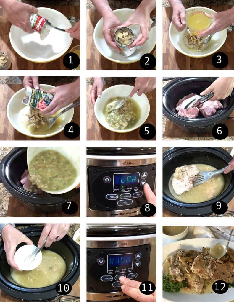 Step by step directions to make slow cooker pork chops
