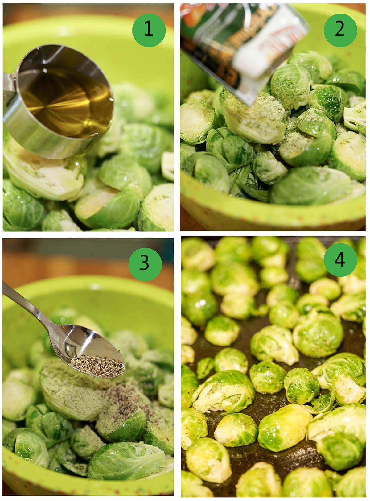 Step by Step Directions to roast Brussels sprouts.
