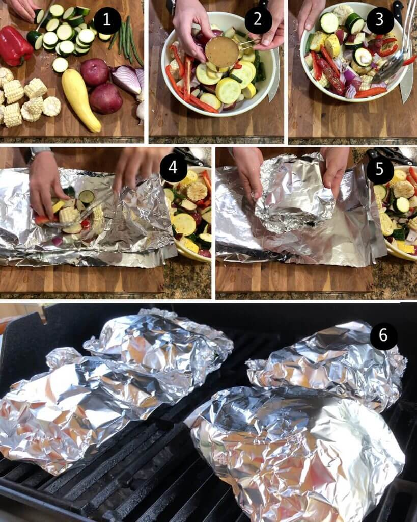 Step by step instruction to make and grill vegetable packets