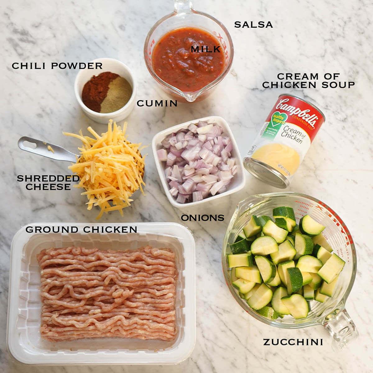 Ingredients to make casserole dish.