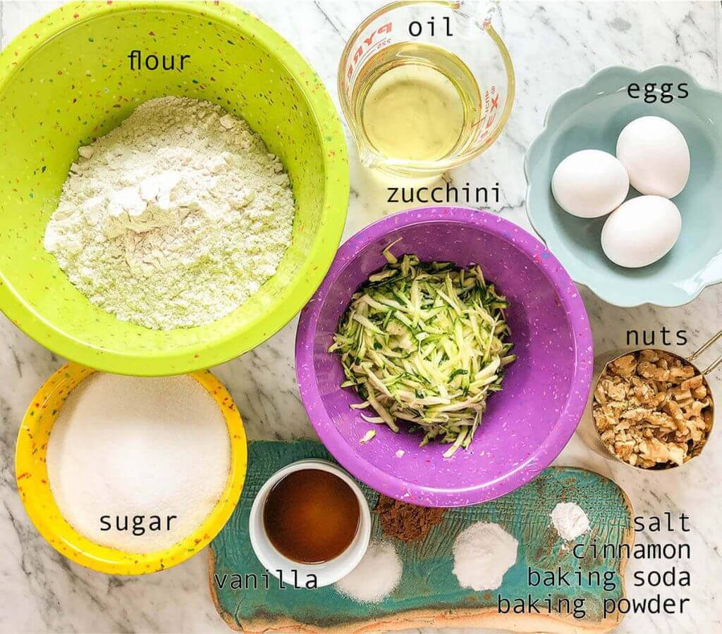 Ingredients for easy zucchini bread recipe