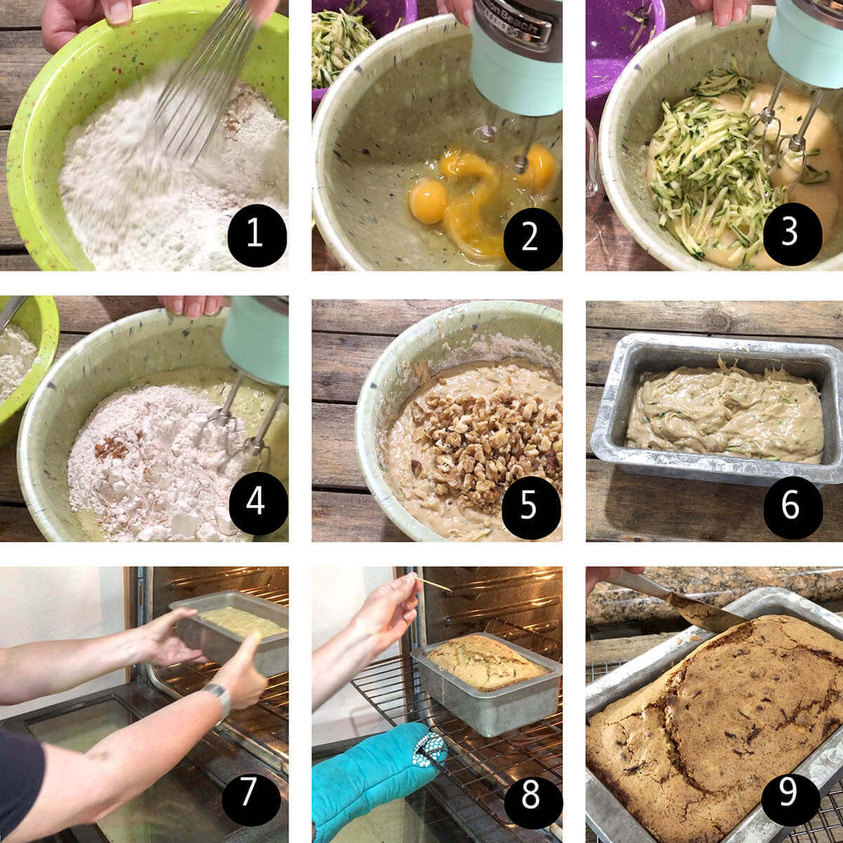 Step by step directions to make zucchini bread.