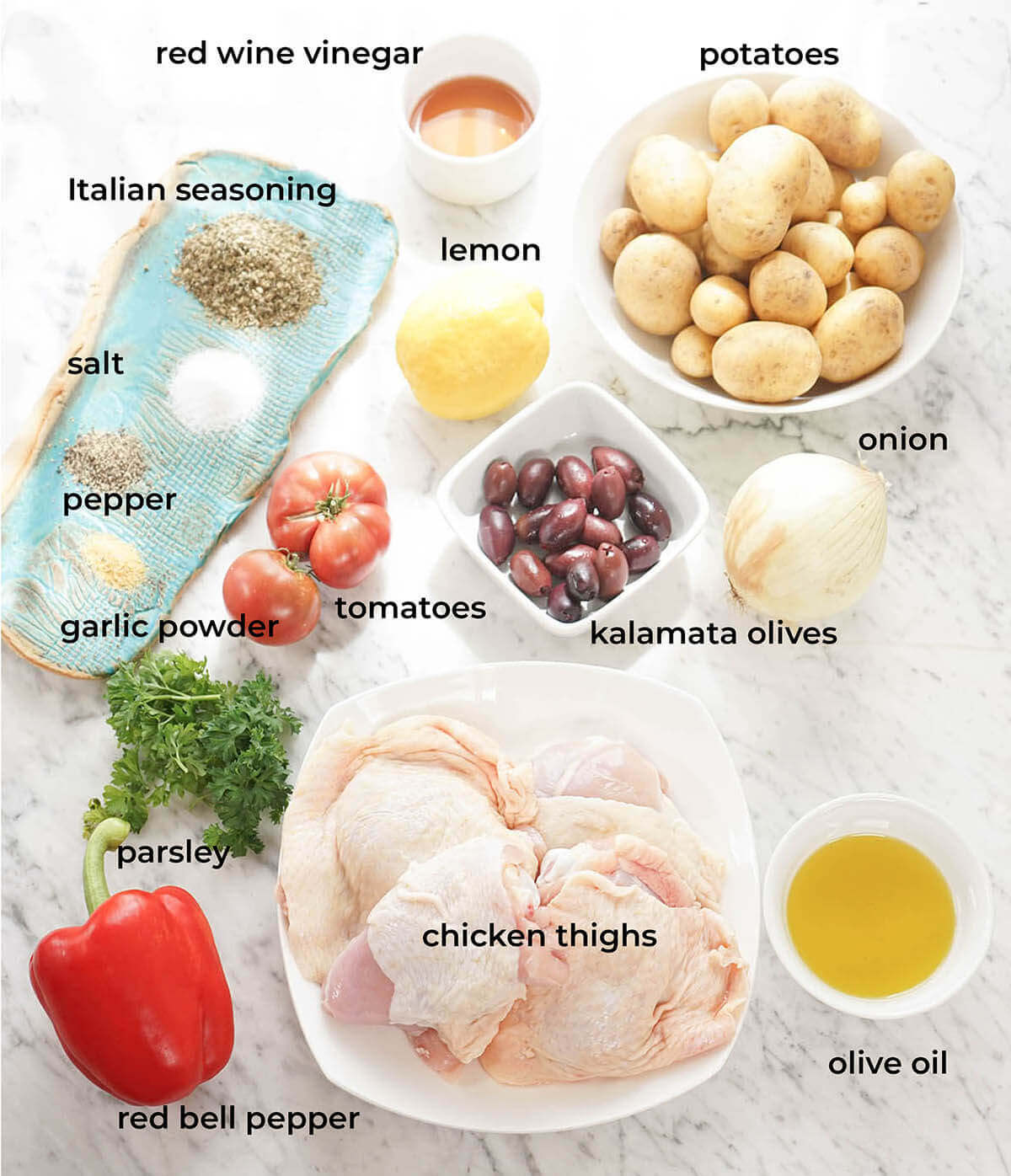 Ingredients needed for skillet and potatoes.
