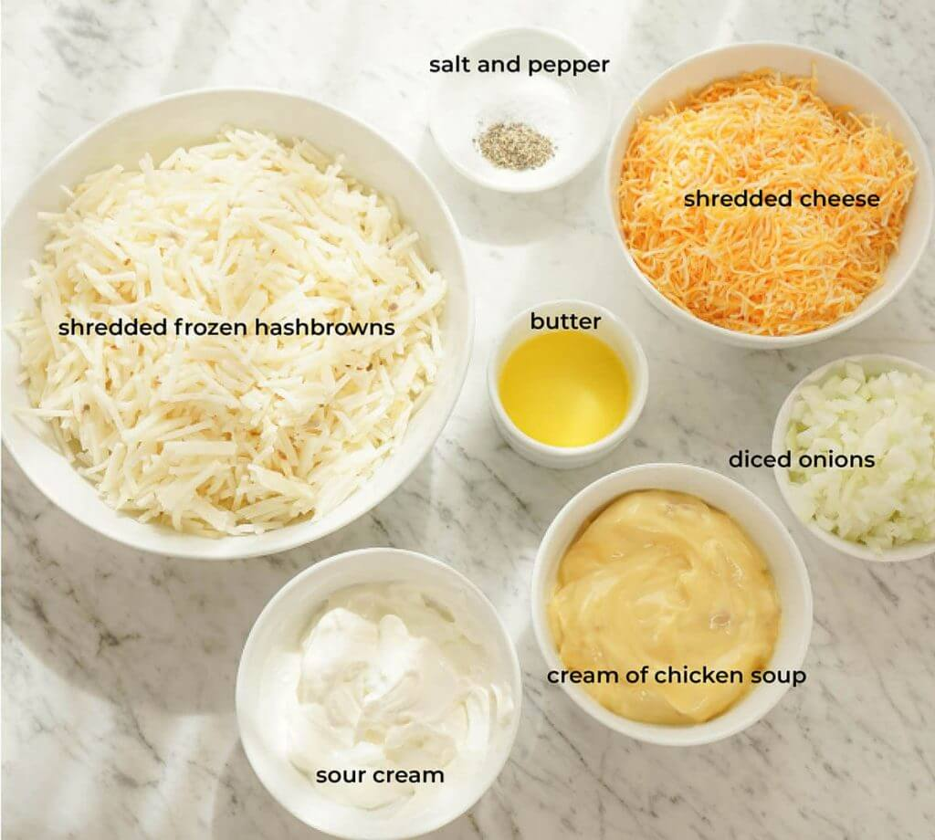 Ingredients for Cheesy Hashbrown Casserole