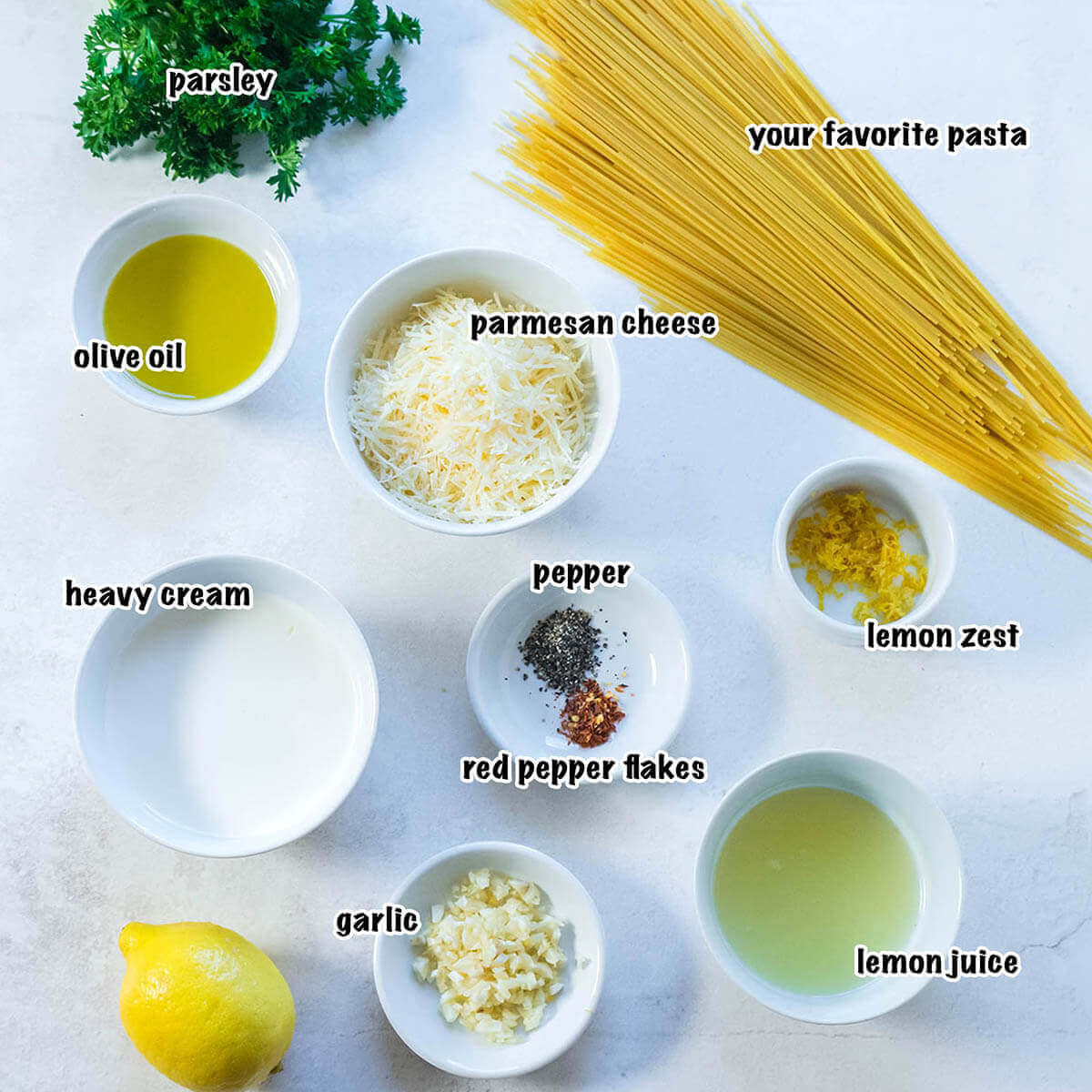 All of the ingredients needed for lemon garlic pasta