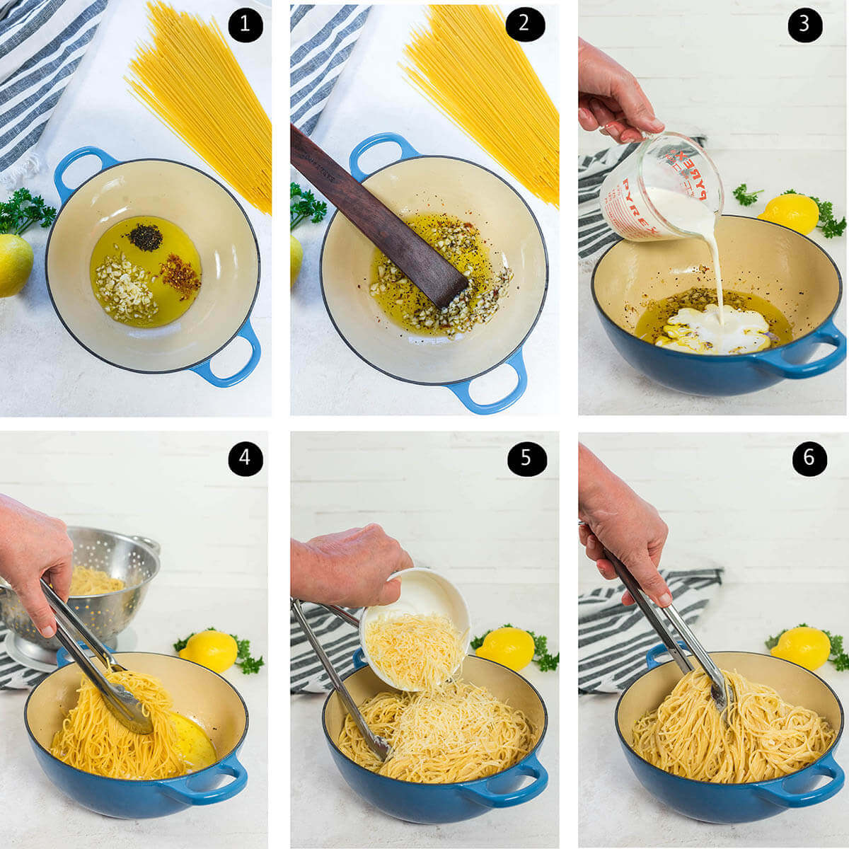 Step by step photos showing how to make Lemon Garlic Pasta Recipe