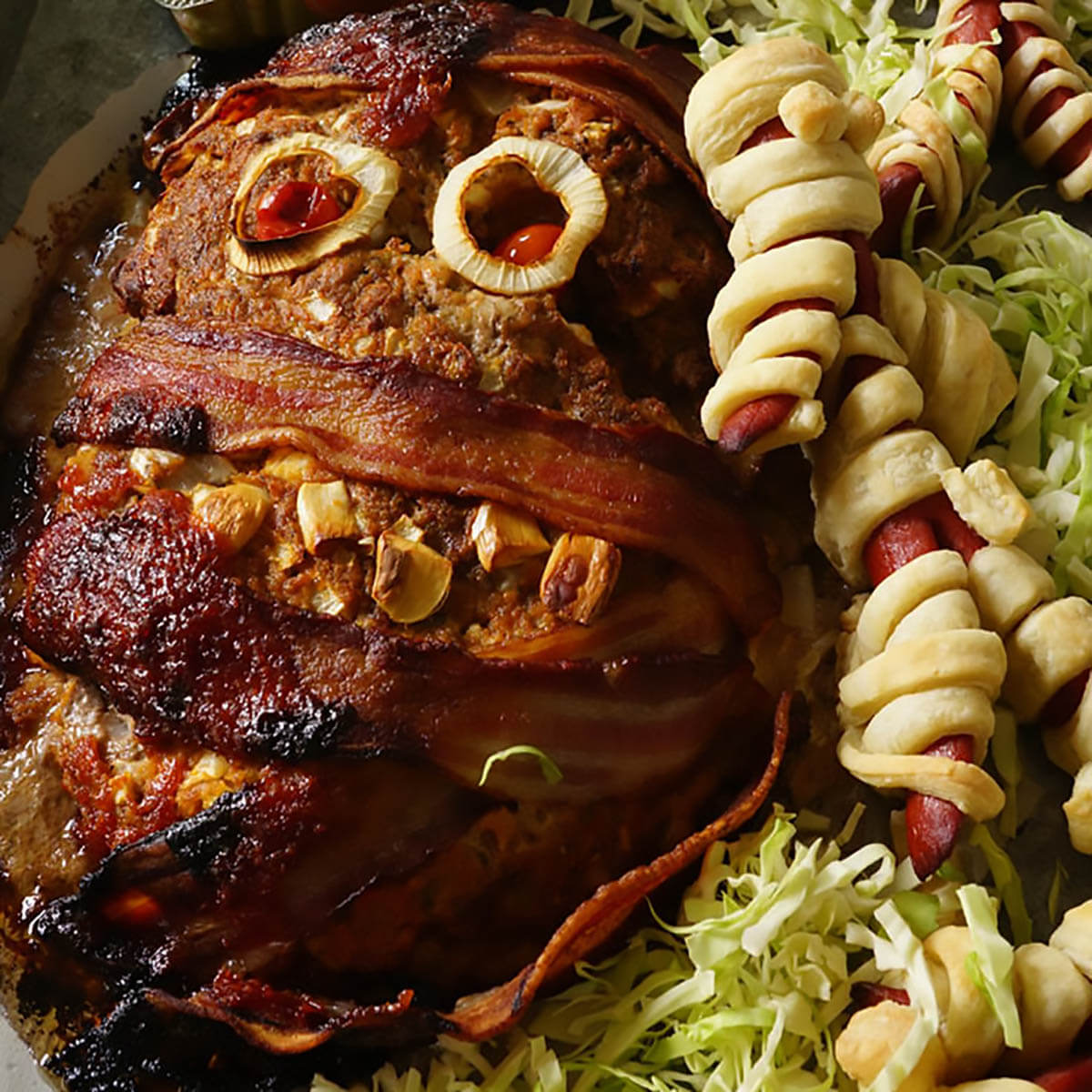 A mummy meatloaf for easy halloween party food