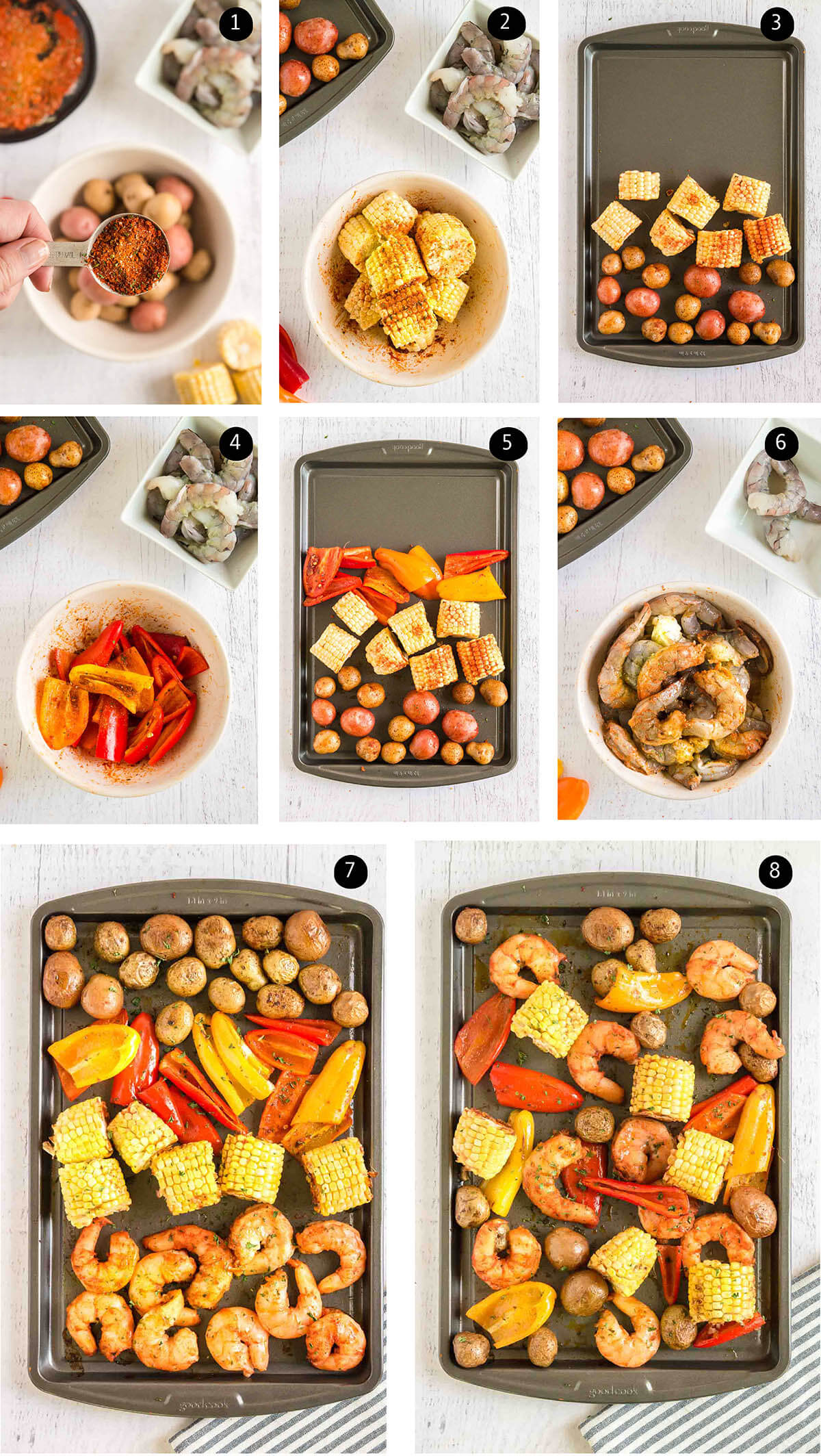 Photos with step by step instructions to make sheet pan shrimp dinner.