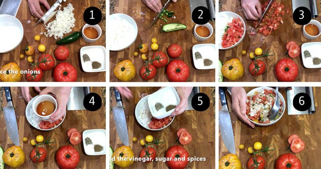 Step by step images showing how to make relish recipe.