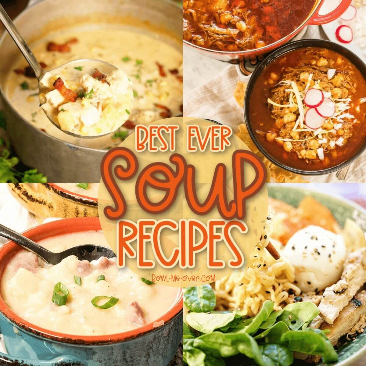 A four picture collage of best soup recipes